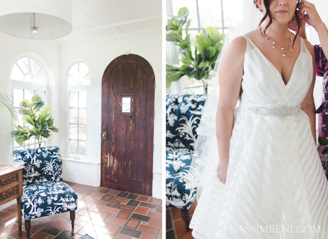 bride in white striped wedding dress