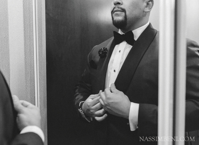 classy mens tux - black and white image