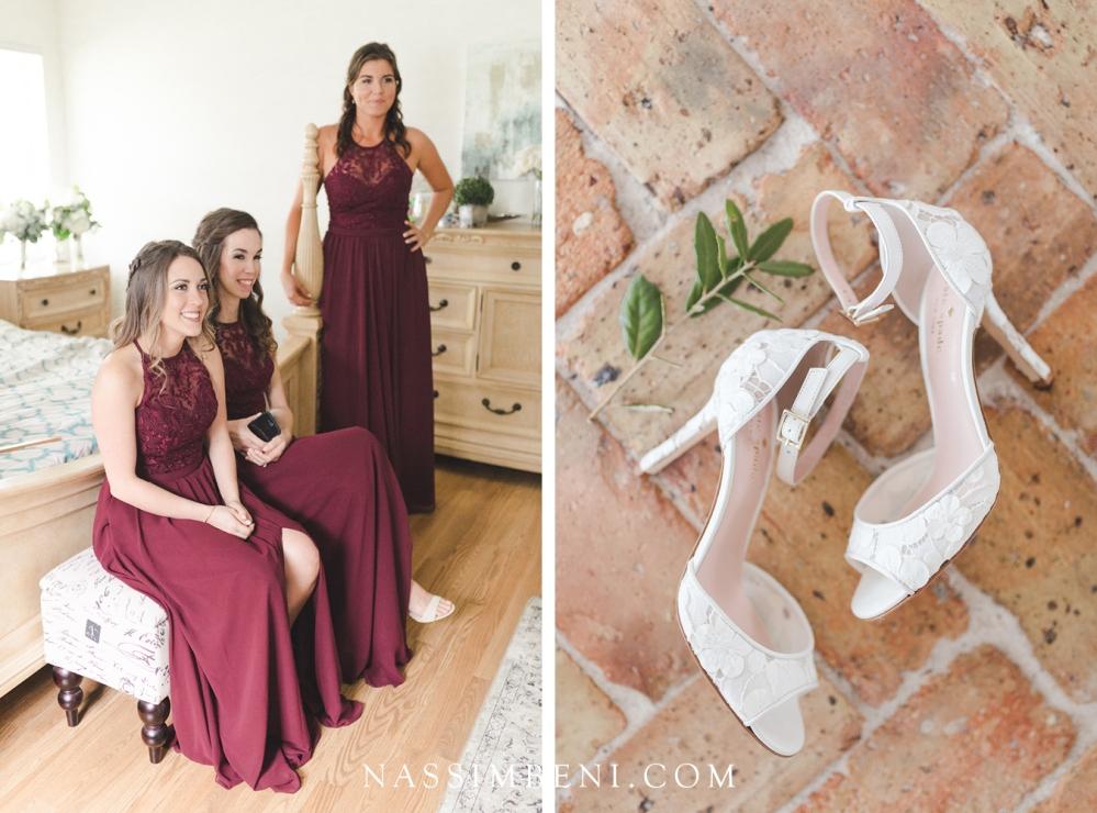 Burgundy bridesmaids dresses - bellewood plantation