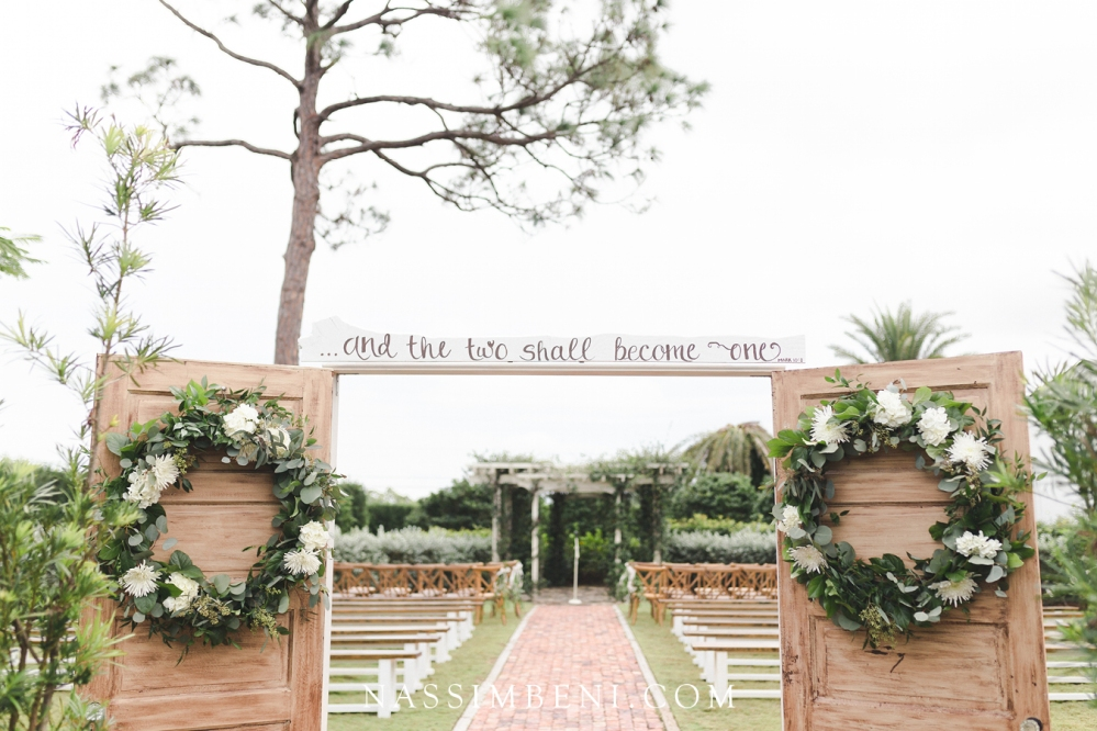 overcast day at bellewood plantation wedding ceremony by pergola