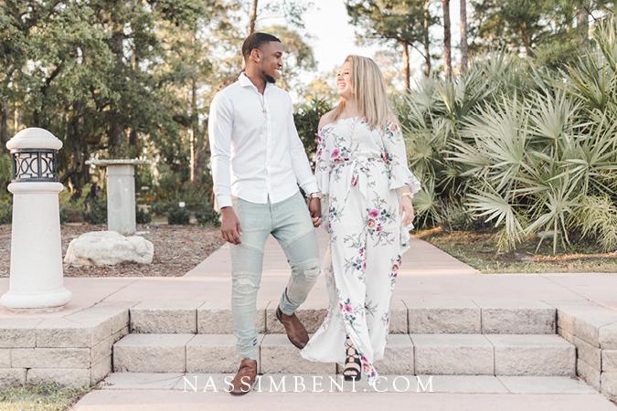 modern romantic engagement photos at port st lucie botanical gardens