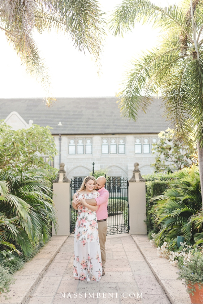 tropical elegant engagement photos at church of Bethesda by the sea
