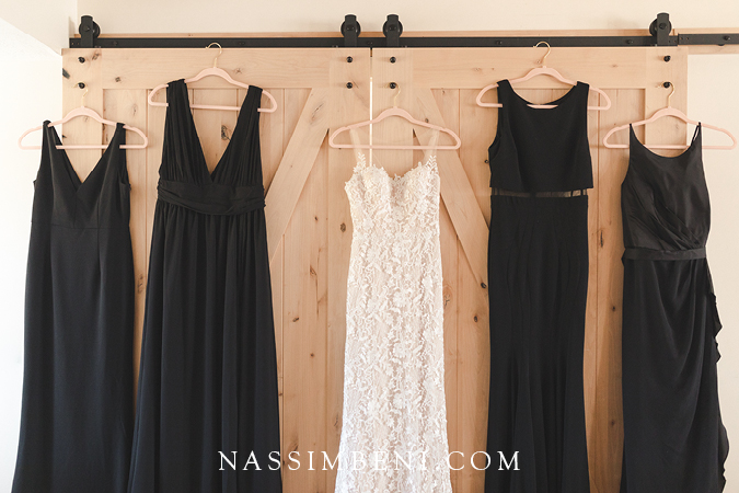 black bridesmaids dresses with lace wedding gown from Olivia Bowen Bridals - Nassimbeni Photo & Films