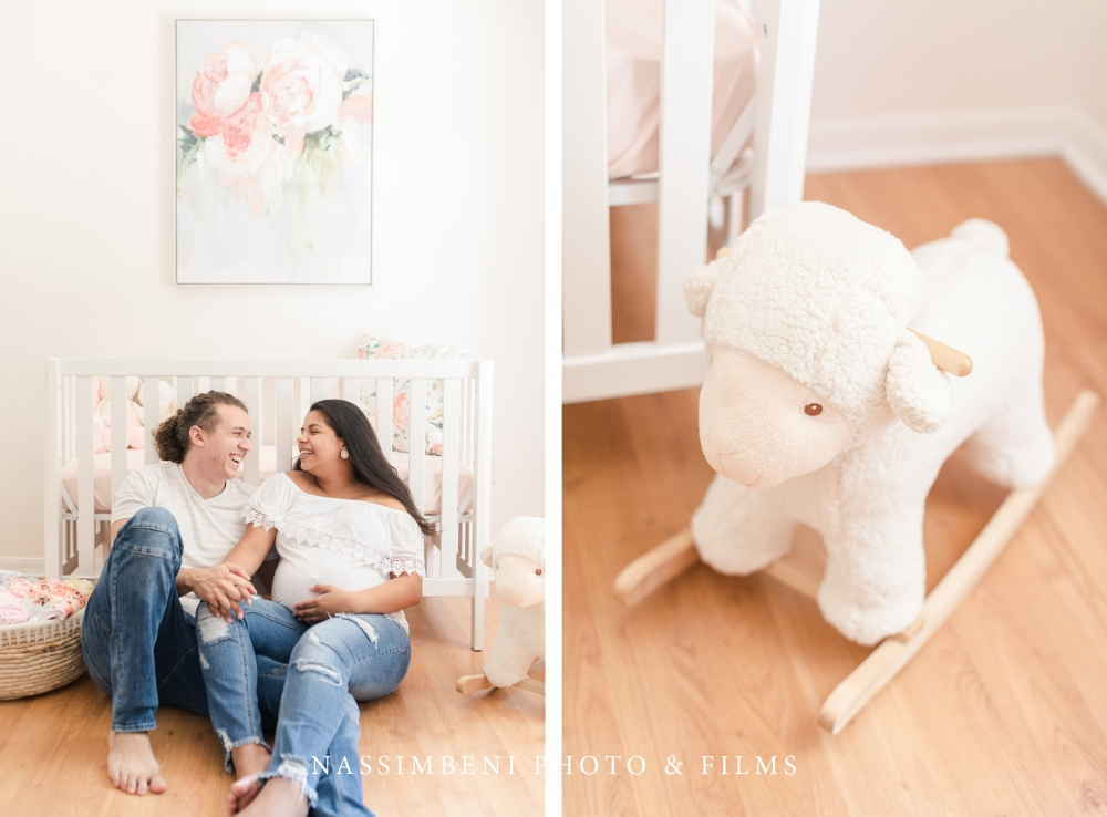 Pink nursery maternity photos