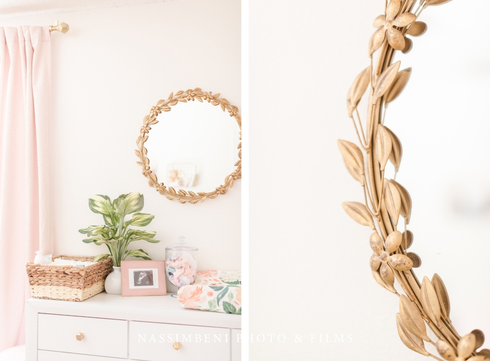 gold and pink floral nursery reveal